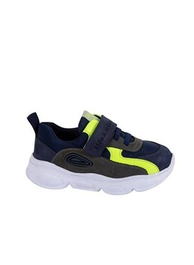 Kids A More Duncan Tek Cırtlı Paraşüt Kumaş Detaylı Deri Erkek Çocuk Sneaker  Lacivert
